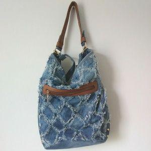 Trendy Ruby Collection Destroyed Denim Hobo Bag